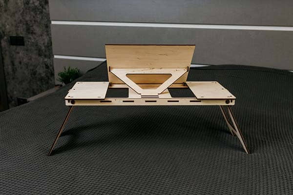Handmade Foldable Wooden Laptop Table with Adjustable Desktop