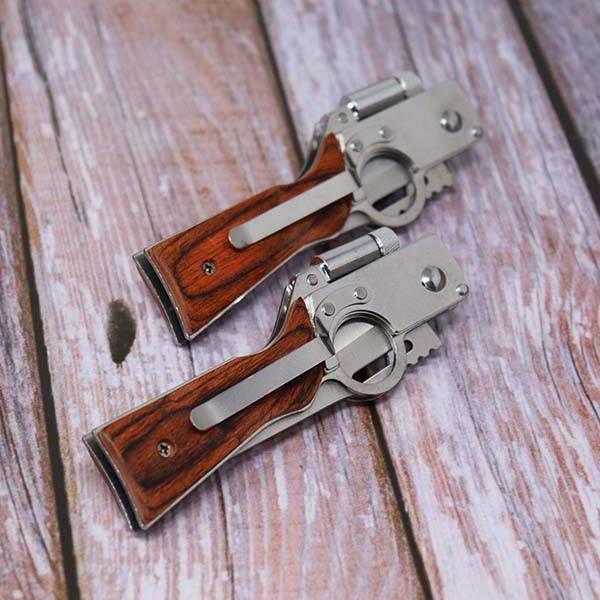 Handmade Gun-Shaped Pocket Knife with Personalization