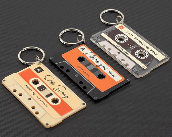 Handmade Personalized Keychain Shaped as Cassette Tape