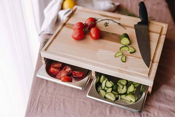 Handmade Wooden Cutting Board with Stainless Steel Trays