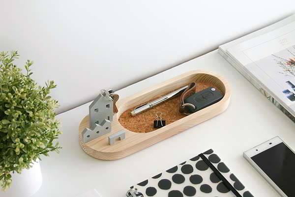 Handmade Wooden Desktop Organizer with Phone Holder