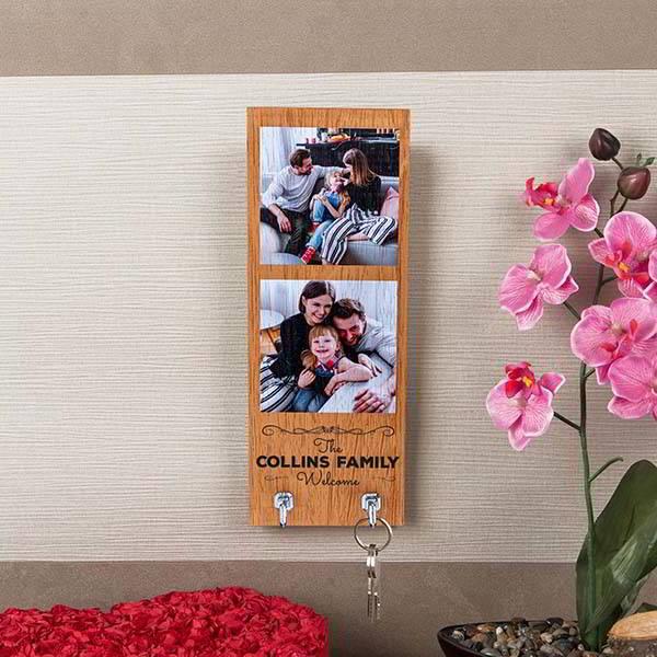 Handmade Wooden Personalized Key Holder for Family