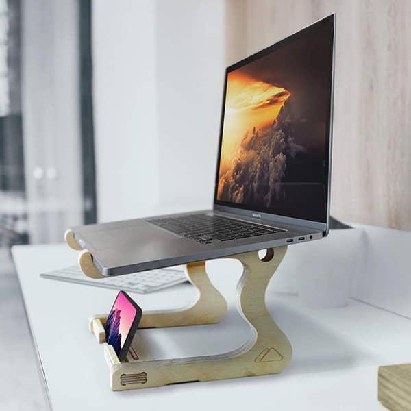 Paramount Handmade Wooden Laptop Standing Desk with Phone Holder