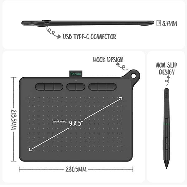 Parblo Ninos Graphic Drawing Tablet with Battery-Free Stylus