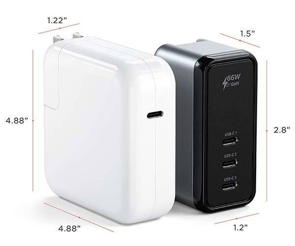 Satechi 66W USB-C GaN Wall Charger with 3 Ports