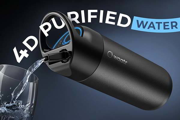 WAATR Filtering Water Bottle with 4D Purification System