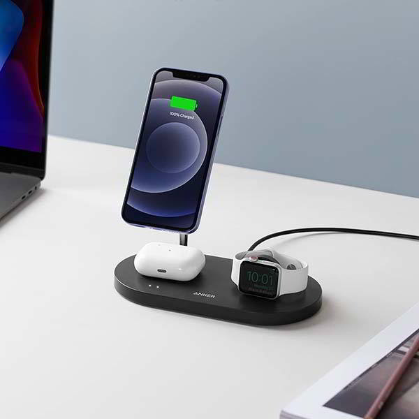 Anker PowerWave 3-In-1 Magnetic Wireless Charging Station with 20W DP Charger