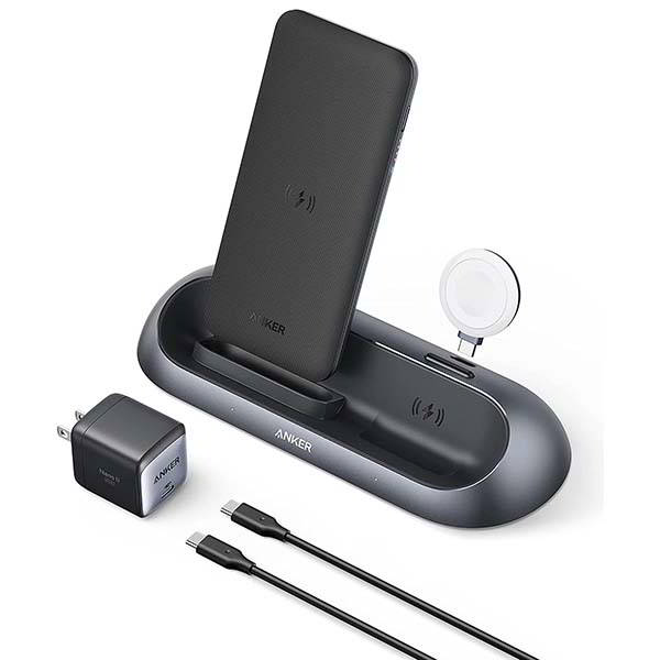 Anker PowerWave Go 3-In-1 Wireless Charging Station with Detachable Power Bank and Apple Watch Charger