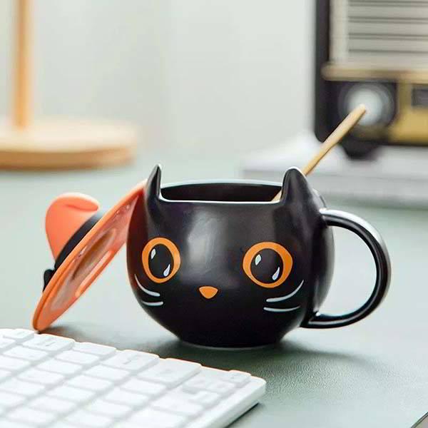 Handmade Black Cat Witchy Halloween Mug