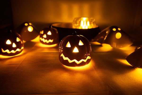 Handmade Ceramic Halloween Pumpkin Tealight Holder