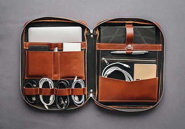 Handmade Leather Laptop Portfolio with Elastic Pockets and Storage Slots