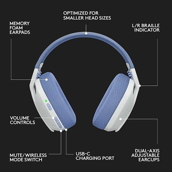 Logitech G435 Lightspeed and Bluetooth Wireless Gaming Headset with Dolby Atmos