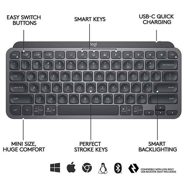 Logitech MX Keys Mini Bluetooth Keyboard with Smart Backlit