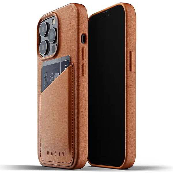 Mujjo Leather iPhone 13 Wallet Case with Stitched Pocket