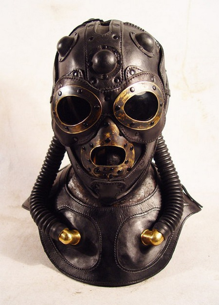 Steampunk Leather Fighter Pilot Mask Gadgetsin