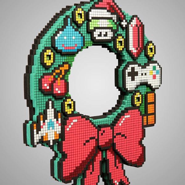 8 Bit Led Holiday Wreath Gadgetsin